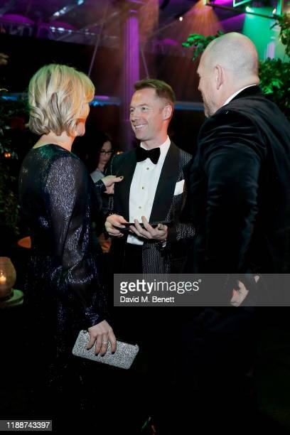 Zara Tindall, Ronan Keating and Mike Tindall attend the 13th annual Emeralds & Ivy Ball in partnership with Cancer Research UK and The Marie Keating...