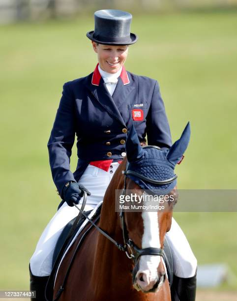 Zara Tindall warms up on her horse 'Class Affair' before competing in the dressage phase of the Burnham Market International Horse Trials on...