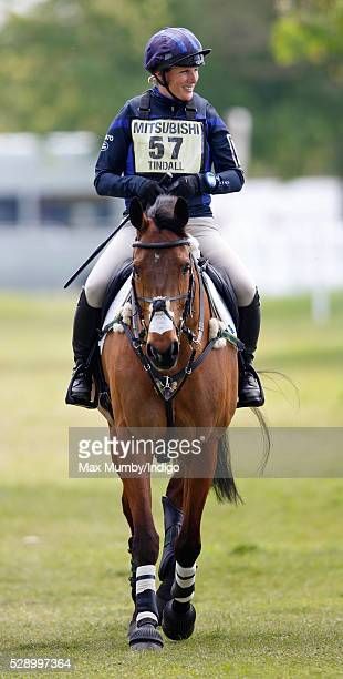 Zara Tindall warms up on her horse High Kingdom before competing in the cross country phase of the Badminton Horse Trials on May 7 2016 in Badminton...
