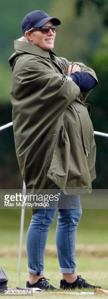 Zara Tindall watches her cousin Prince William Duke of Cambridge play in the Jerudong Trophy charity polo match at Cirencester Park Polo Club on May...