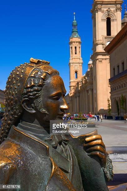 Zaragoza Basilica del Pilar Goya Monument Basilica del Pilar Square Saragossa Aragon Spain