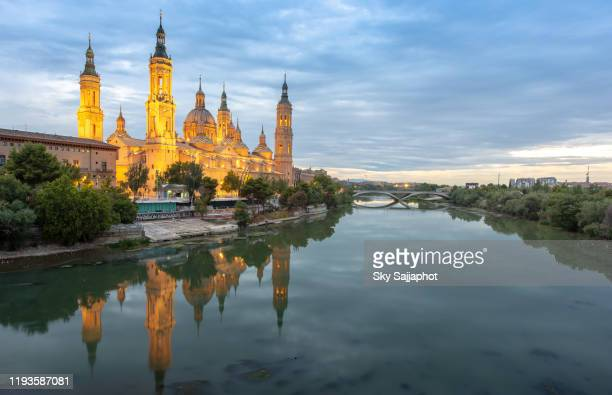 zaragoza is the capital of northeastern spain's aragon region. - monument stock pictures, royalty-free photos & images