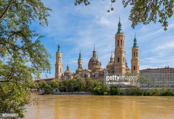 Zaragoza Zaragoza Province Aragon Spain Basilica de Nuestra SeÐora del Pilar or Our Lady of the Pillar seen across the Ebro River Our Lady of the...