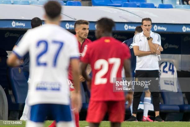 Zaragoza's coach Ruben Baraja during the friendly match between Real Zaragoza and Getafe at the Romareda stadium on September 12, 2020 in Zaragoza,...