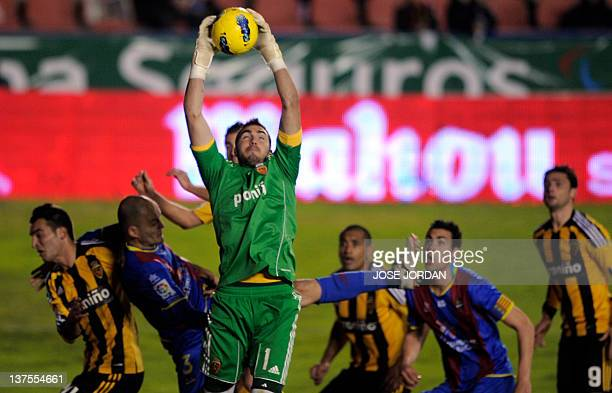Zaragoza's goalkeeper Roberto jumps for the ball during the Spanish league football match Levante UD vs Zaragoza on January 222012 at Ciutat de...