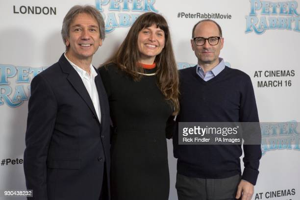 Zareh Nalbandian left Jodi Hildebrand and Doug Belgrad attending the Peter Rabbit UK Gala Premiere held at Vue West End in Leicester Square London