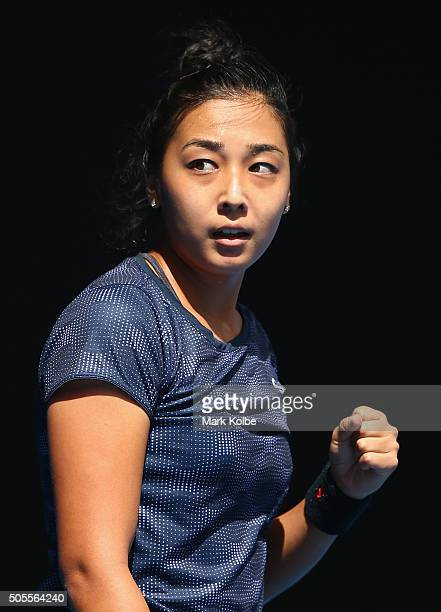 Zarina Diyas of Kazakhstan celebrates a point in her first round match against Madison Keys of the United States during day two of the 2016...