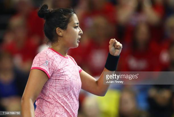 Zarina Diyas of Kazakhstan celebrates in her match against Katie Boulter of Great Britain during the Fed Cup World Group II Play-Off match between...
