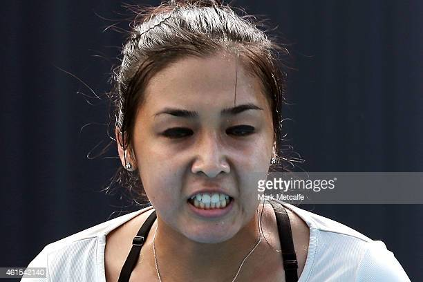 Zarina Diyas of Kazakhstan celebrates winning a point in her second round match against Daniela Hantuchova of Slovakia during day five of the Hobart...