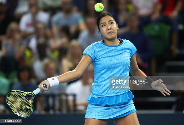 Zarina Diyas of Kazakhstan in action against Johanna Konta of Great Britain during the Fed Cup World Group II Play-Off match between Great Britain...
