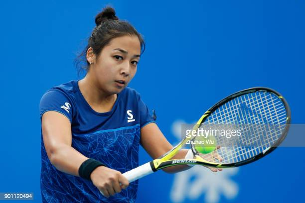 Zarina Diyas of Kazakhstan in action during Day 5 of 2018 WTA Shenzhen Open Quarterfinal against Maria Sharapova of Russia at Longgang International...