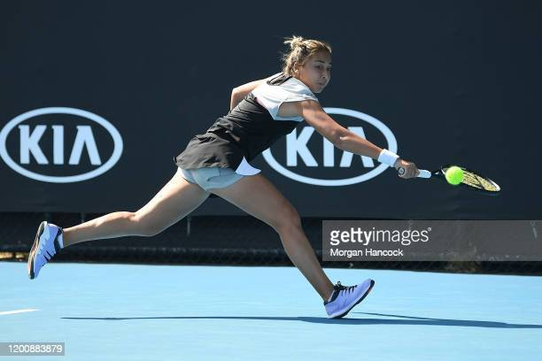 Zarina Diyas of Kazakhstan plays a backhand during her Women's Singles first round match against Amanda Anisimova of the United States on day two of...