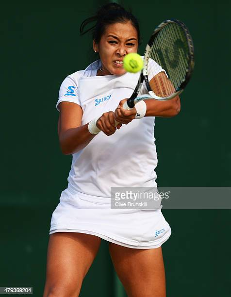 Zarina Diyas of Kazakhstan plays a backhand in her Ladies' Singles Third Round match against Andrea Petkovic of Germany during day five of the...