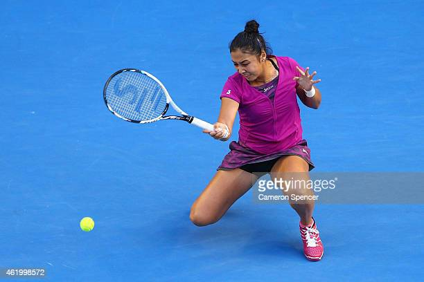 Zarina Diyas of Kazakhstan plays a forehand in her third round match against Maria Sharapova of Russia during day five of the 2015 Australian Open at...