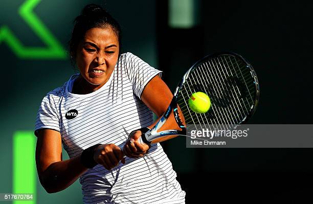 Zarina Diyas of Kazakhstan plays a match against Serena Williams during Day 6 of the Miami Open presented by Itau at Crandon Park Tennis Center on...