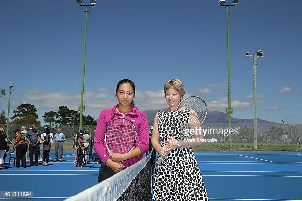 Zarina Diyas of Kazakhstan poses with Tasmanian Attorney General Dr Vanessa Goodwin during a media event at Lindisfarne Tennis Club during day one of...