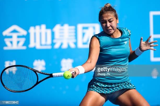 Zarina Diyas of Kazakhstan returns a shot during the match against Anna Blinkova of Russia on Day 4 of 2020 WTA Shenzhen Open at Shenzhen Longgang...