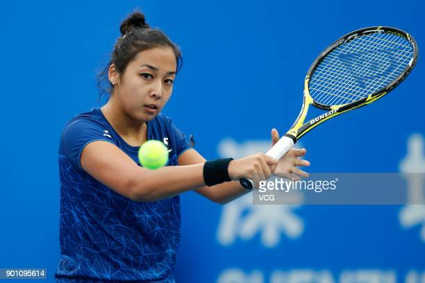 Zarina Diyas of Kazakhstan returns a shot during the quarterfinal match against Maria Sharapova of Russia on day 5 of 2018 WTA Shenzhen Open at...