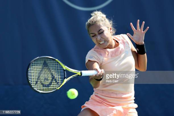 Zarina Diyas of Kazakhstan returns a shot to Cori Gauff of the United States during Day 2 of the Citi Open at Rock Creek Tennis Center on July 30,...