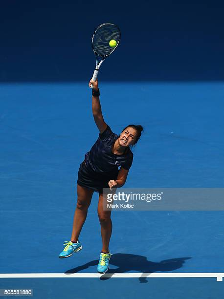 Zarina Diyas of Kazakhstan serves in her first round match against Madison Keys of the United States during day two of the 2016 Australian Open at...