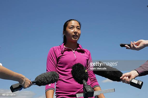 Zarina Diyas of Kazakhstan speaks to the media at Lindisfarne Tennis Club during day one of the 2015 Hobart International at Domain Tennis Centre on...