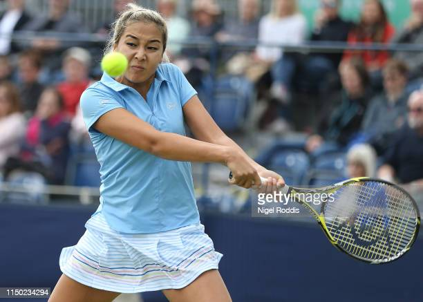 Zarina Diyas of Kazakstan in action against Magda Linette of Poland during the Women's singles Final of the Manchester Trophy between at The Northern...