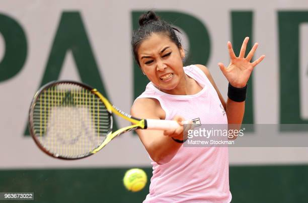 Zarina Diyas of Kazhakstan plays a forehand during the ladies singles second round match against Naomi Osaka of Japan during day four of the 2018...
