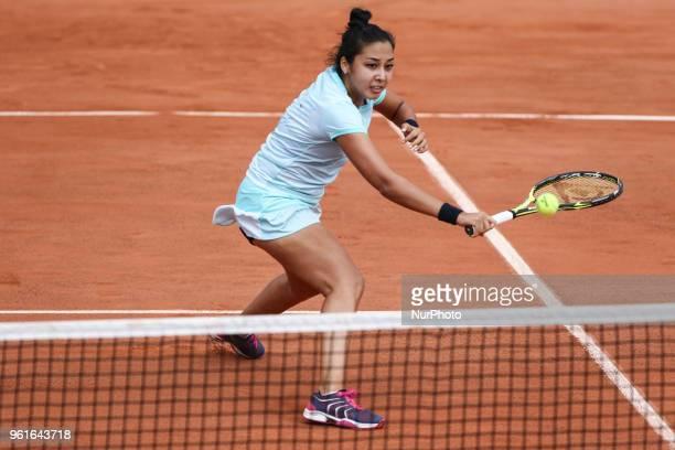 Zarina Diyas plays against Timea Babos during their WTA Open internaionaux de tennis de Strasbourg in Strasbourg on May 22,