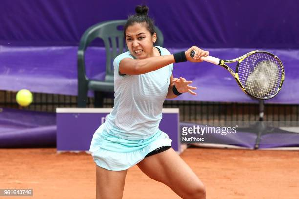 Zarina Diyas plays against Timea Babos during their WTA Open internaionaux de tennis de Strasbourg in Strasbourg on May 22