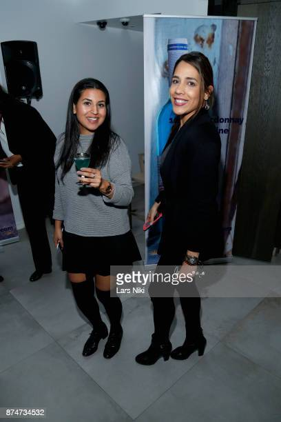 Zarina Hamdard and Fernanda Montenegro attend the Blu Perfer Blue Brut Launch Party for The 2018 8th annual Better World Awards on November 15 2017...