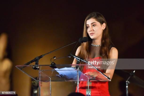 Zarina Mamadbekova speaks at The Aga Khan Foundation Gala at The Metropolitan Museum of Art on November 15 2017 in New York City