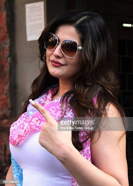 Zarine Khan after casting her vote in Mumbai