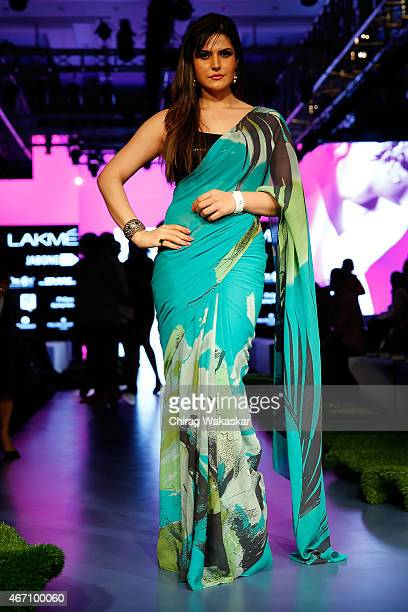 Zarine Khan poses for pictures on day 3 as part of Lakme Fashion Week Summer/Resort 2015 at Palladium Hotel on March 20 2015 in Mumbai India