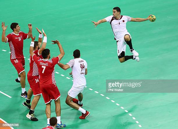 Zarko Markovic of Qatar jumps to shoot at goal during the Men's Preliminary Group A match between Croatia and Qatar on Day 2 of the Rio 2016 Olympic G