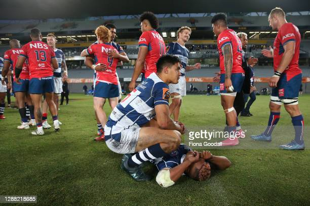 Zarn Sullivan of Auckland supports Tumua Manu of Auckland during the Mitre 10 Cup Final between Auckland and Tasman at Eden Park on November 28, 2020...