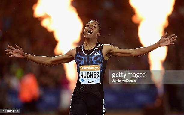 Zarnel Hughes of Great Britain celebrates winning the Mens 200m during day one of the Sainsbury's Anniversary Games at The Stadium Queen Elizabeth...