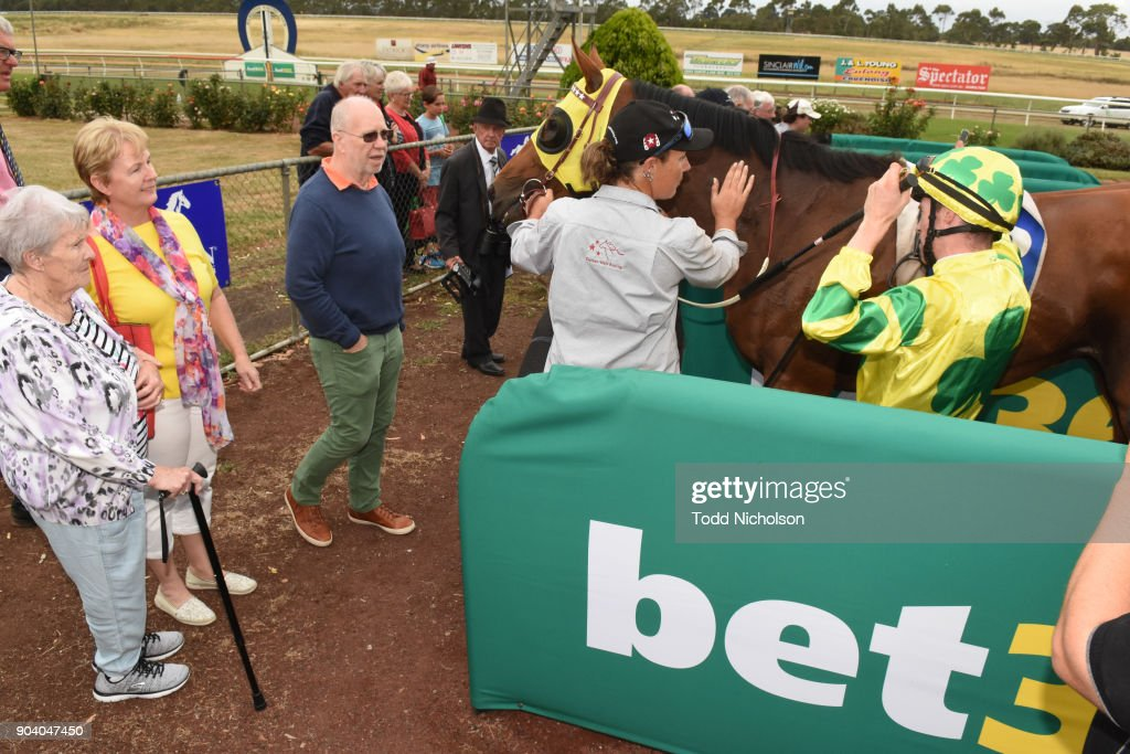 Zartini ridden by John Allen returns after the Warrnambool Racing Club BM58 Handicap at Hamilton Racecourse on January 12, 2018 in Hamilton, Australia.