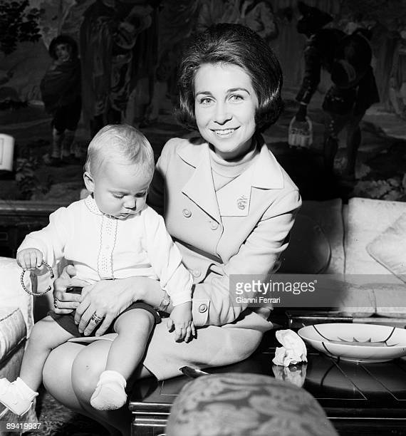 Zarzuela Palace Madrid 1968 The princess Sofia and her son prince Felipe
