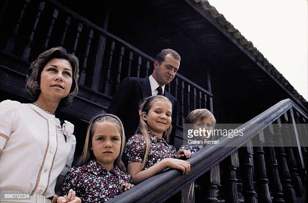 Zarzuela Palace Madrid 1973 The princes of Spain Juan Carlos and Sofia with their chindrens Elena Cristina and Felipe