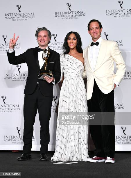 Zasha Robles Mj Rodriguez and Diego Ramirez Schrempp winners of the Nonenglish Language US Primetime Program at the 2019 International Emmy Awards...