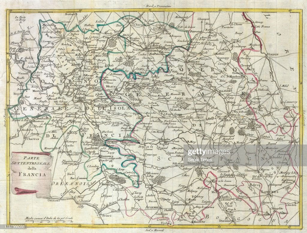 1740 Zatta Map Of Central France And The Vicinity Of Paris News Photo Getty Images
