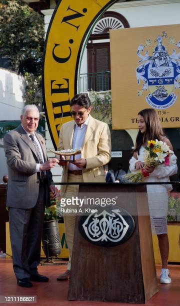 Zavaray Poonawalla, Chairman of the Royal Western India Turf Club with industrialist Ness Wadia and his niece, Ella Wadia at the CN Wadia Gold Cup...