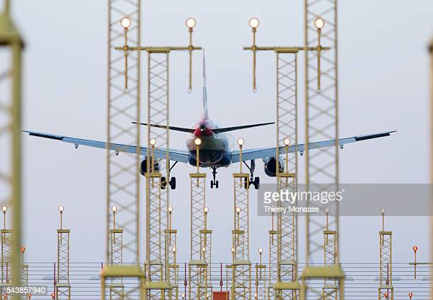 Zaventem Belgium April 19 2014 An Airbus A319 from British Airways is landing in Brussels National airport British Airways is the flag carrier...