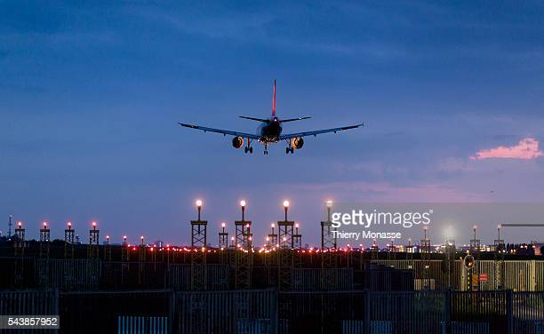 Zaventem Belgium April 20 2014 An Airbus A319 from Easyjet is landing at Brussels National airport EasyJet is a British airline carrier based at...