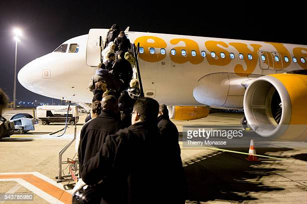 Zaventem Belgium February 15 2013 Passengers get in an Airbus A319 from Easyjet in Zaventem airport 10 Km east of Brussels EasyJet Airline Company...