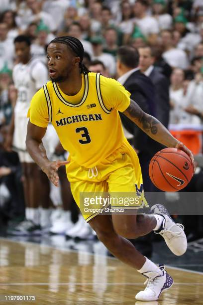 Zavier Simpson of the Michigan Wolverines plays against the Michigan State Spartans at Breslin Center on January 05, 2020 in East Lansing, Michigan.