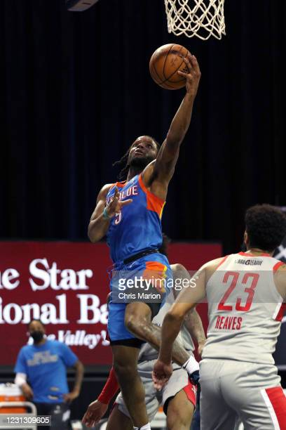 Zavier Simpson of the Oklahoma City Blue goes to the basket against the Rio Grande Valley Vipers on February 21, 2021 at HP Field House in Orlando,...