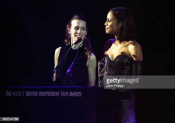 Zawe Ashton and Chloe Pirrie present the Douglas Hickox Debut Director Award at The Moet British Independent Film Awards 2015 on December 6 2015 in...