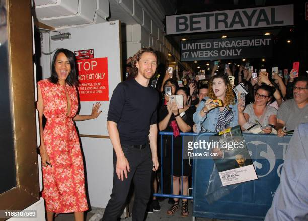 Zawe Ashton and Tom Hiddleston greet and sign autographs for fans after the first public preview of Harold Pinter's classic play Betrayalon Broadway...