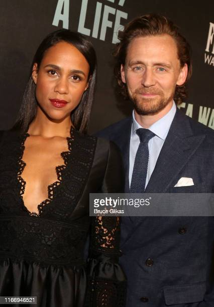 Zawe Ashton and Tom Hiddleston pose at the opening night of Sea Wall/A Life on Broadway at The Hudson Theatre on August 8 2019 in New York City